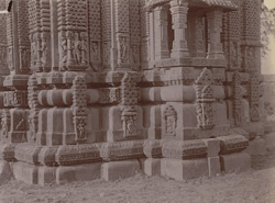 Close view of mouldings and balcony of the Jarah ki Math Temple, outside the village of Phatera, near Barwa Sagar